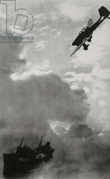 English merchant ship being attacked by Junkers Ju 87 dive bomber on English Channel, World War II, from L'Illustrazione Italiana, Year LXVII, No 39, September 29, 1940
