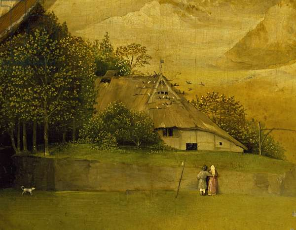 Couple in front of hut, detail from Adoration of the Magi, by Hieronymus Bosch, 1510, oil on canvas, Circa 1450-1516, 138x144 cm