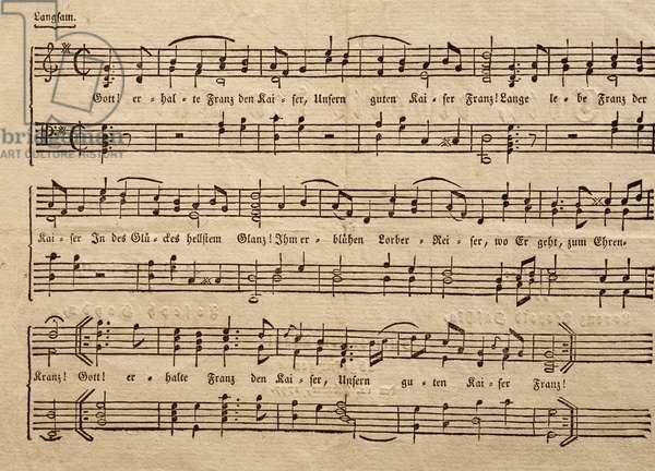 Score for hymn Gott erhalte Franz den Kaiser (God save Emperor Francis), Franz Joseph Haydn (1732-1809), composed in 1797