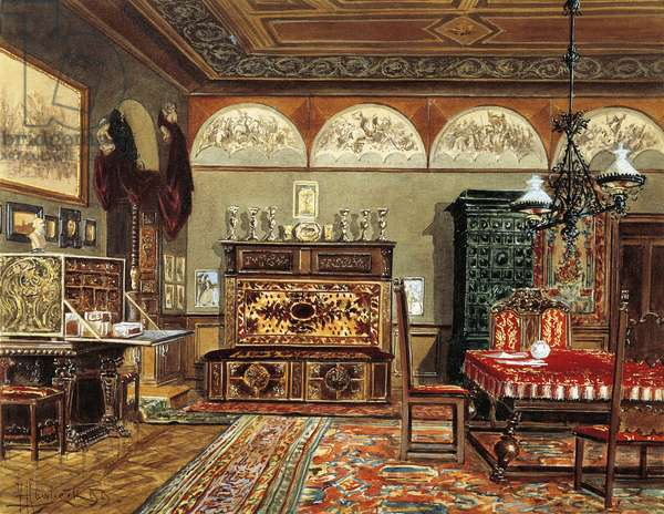 Austria, Vienna, watercolour painting of Biedermeier Room