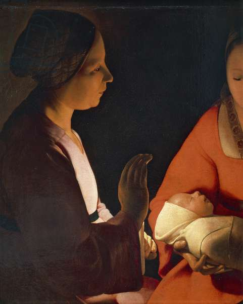 The infant by Georges de La Tour (1593-1652), oil on canvas, 76x91 cm , detail, 1645-1648