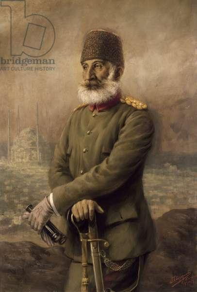 Portrait of General Shukri Pasha, commander of the Turkish garrison in Adrianople in the First Balkan War (1912-1913).