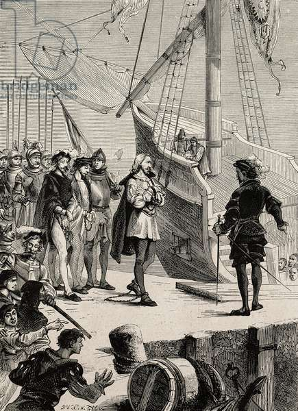 The arrest of Christopher Columbus, The martyrs of science, by Gaston Tissandier, engraving from L'IIllustrazione Italiana, no 52, December 24, 1882