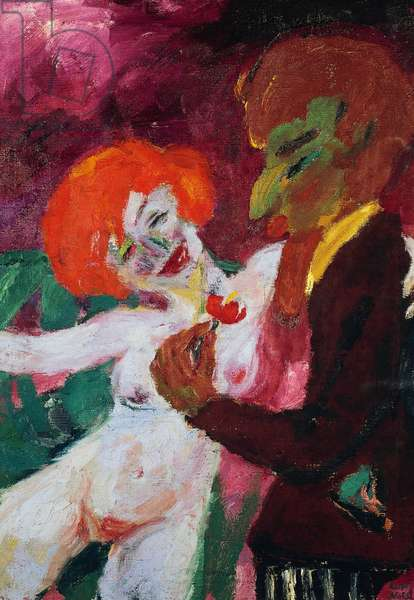 The flatterer, 1919, by Emil Nolde (1867-1956), oil on canvas, 101x73 cm. Germany, 20th century.