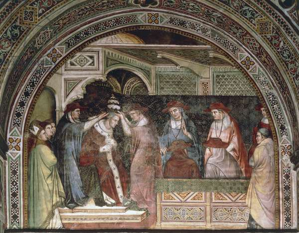 Coronation of Alexander, scene from the Stories of Alexander III, 1407-1408, by Spinello Aretino (ca 1350-1410), fresco, Priory Room, Public Palace, Siena (UNESCO World Heritage List, 1995), Tuscany. Detail. Italy, 15th century.