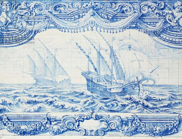 Caravel exploring the African coast, detail of azulejos (Portuguese painted, tin-glazed, ceramic tilework), Portugal, 18th century