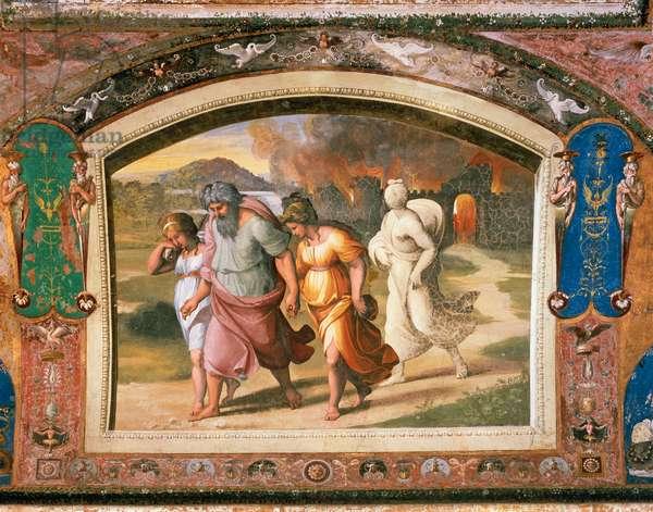 The flight of Lot from Sodom, 1518-1519, workshop of Raphael (1483-1520), fresco, Raphael Loggias, Apostolic Palace, Vatican City