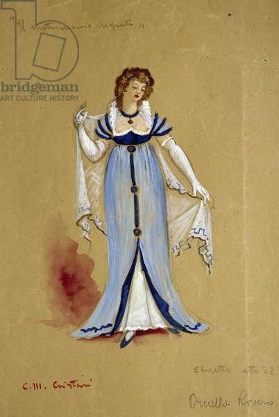 Costume sketch by Cristini for Elisabetta in performance of act II of Il Matrimonio segreto (The Secret Marriage), opera by Domenico Cimarosa (1749-1801)