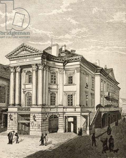 The Prague Summer Theatre, Czech Republic, 19th Century Engraving