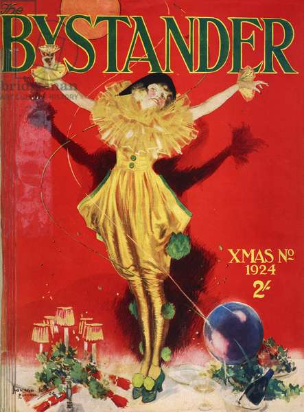 Girl in party dress between Christmas items and bottles of champagne, cover of magazine Bystander, Christmas number, December 1924