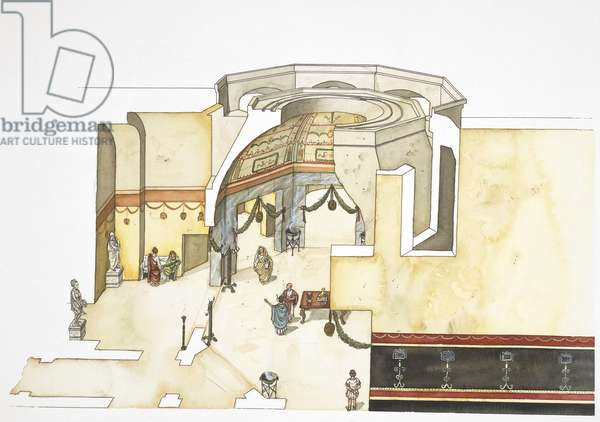 Roman civilization: The Domus Aurea, built in the heart of Ancient Rome by the Roman Emperor Nero between 64 and 68 b.C. Drawing depicting the octagonal room