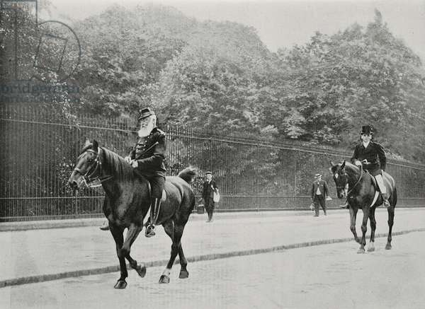 King Leopold II riding in Laeken Park, near Brussels, Belgium, photo by Nadaud from L'Illustration, No 3256, July 22, 1905