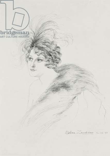 Portrait of Berthe Bady (1872-1921), character from Honeysuckle by Gabriele D'Annunzio at Porte Saint-Martin in Paris, drawing by Adelina Zandrino, from L'Illustrazione Italiana, Year XL, No 51, December 21, 1913