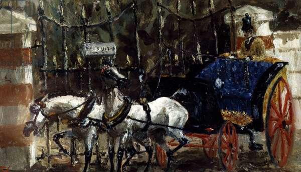 Pair of horses in front of gate, 1881, by Henri de Toulouse-Lautrec (1864-1901), oil on canvas, 14x23 cm