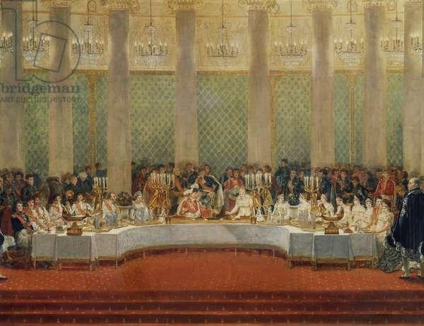 Napoleon Bonaparte and Marie Louise of Habsburg-Lorraine's wedding banquet, April 2, 1810, Paris, illustration, France, 19th century