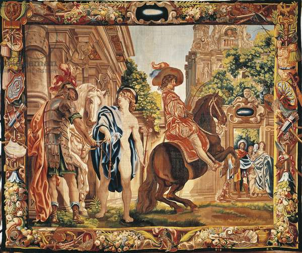 King Louis XIII of France on horseback, 17th century tapestry woven in Brussels after designs by Jacob Jordaens, from the series The Riding School.