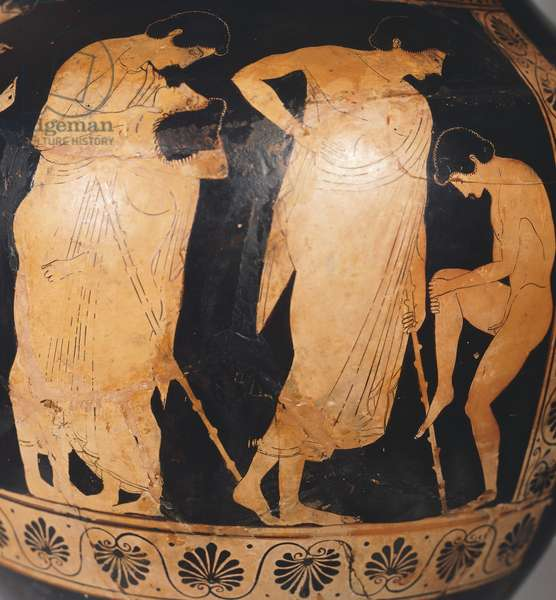 Attic amphora showing figures of Ephebe, ca 530-510 BC, attributed to Painter of Dikaios, red-figure pottery, Greece, Detail, Greek Civilization, 6th Century BC