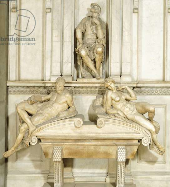 Tomb of Lorenzo de' Medici, by Michelangelo (1475-1564), marble sculpture, Medici Chapel of Church of San Lorenzo in Florence, Tuscany, 1525-1534