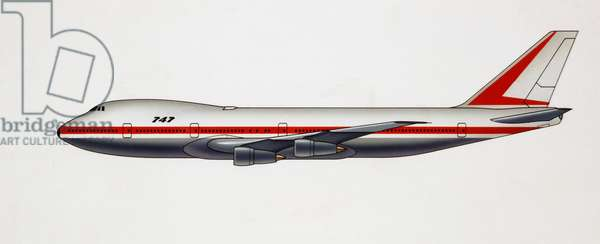 Boeing 747 commercial airliner and cargo transport aircraft, 1970, USA, drawing