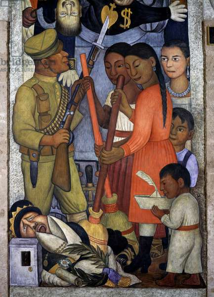 Guarantees, by Diego Rivera (1886-1957), detail from the Ministry of Education frescoes (1923-1928), Mexico City. Mexico, 20th century.