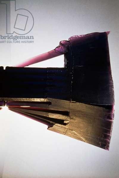 Fortress in violet, 1995, Gisela Sabokova (1952-), glass-cast sculpture, Bohemia, 20th century