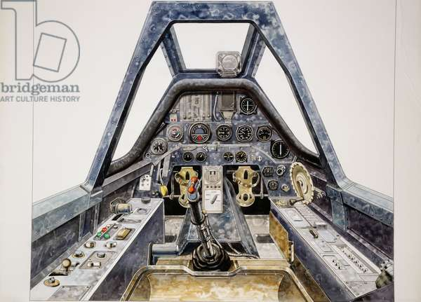 Cockpit of Focke-Wulf Fw 190 fighter aircraft, 1941, Germany, drawing