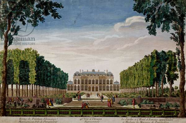 Garden and Hotel d'Evreux, once belonging to Madame de Pompadour, circa 1750, colored etching, 30, 8x46, 4 cm, France, 18th century