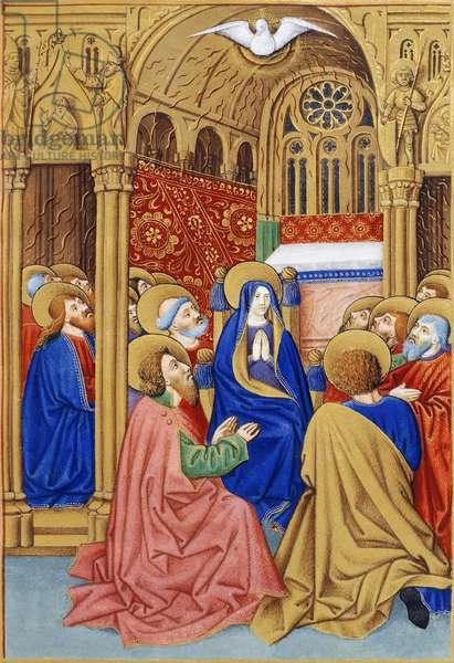 The Pentecost, miniature from Book of Prayers by Jeanne de Laval, manuscript