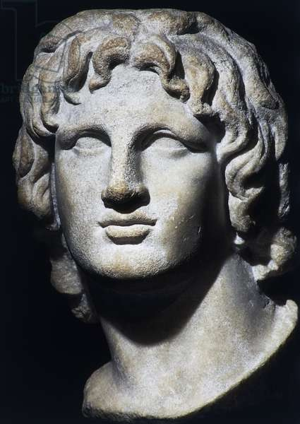 Marble head of Alexander the Great from Egypt, Hellenistic civilization, 2nd-1st century BC