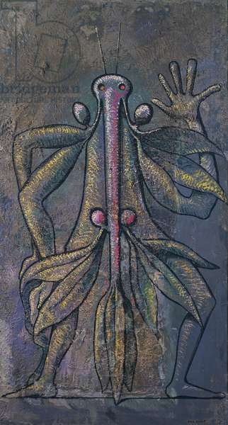 Human figure, 1931, by Max Ernst (1891-1976), oil and daubing on canvas, 184x100 cm. Germany, 20th century.
