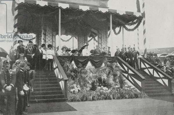 Hereditary Archduke Franz Ferdinand of Austria-Este (1863-1914) and his wife, Princess Sophia of Hohenberg (1868-1914), at the Imperial box at the launching of the Austrian battleship Radetzky in Trieste, July 3, 1909, Italy, photo by Argus