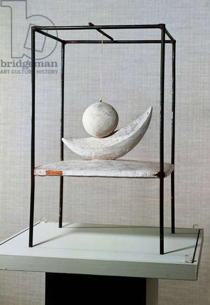 Suspended ball (Boule suspendue), 1930-1931, by Alberto Giacometti (1901-1966), sculpture in wood, steel and rope, 60.4x36x34 cm. Italy, 20th century.