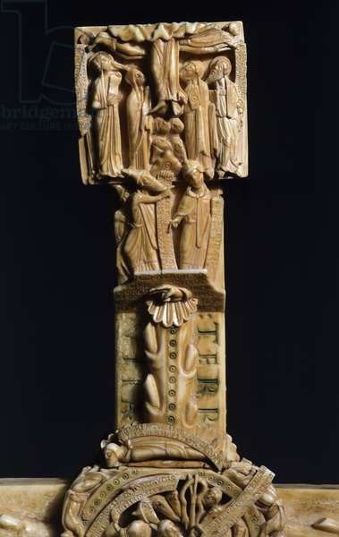 Ascension, decorative detail from Cloisters Cross, walrus ivory, 57x36 cm