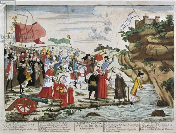 France, French Revolution, Caricature of emigrants crossing the Rhine
