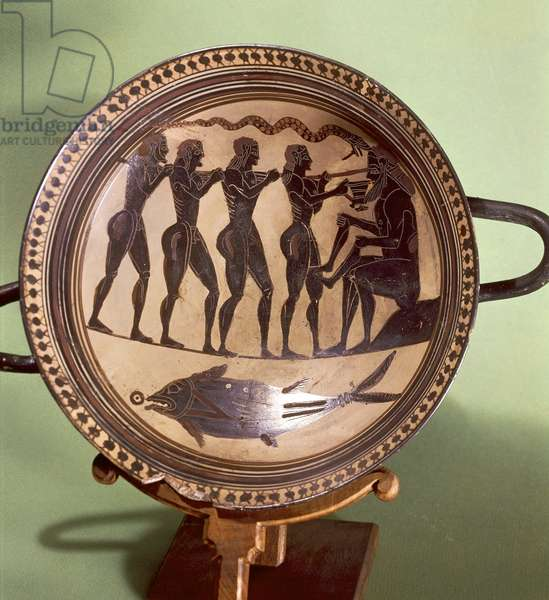 Cup showing Ulysses blinding Polyphemus, black-figure pottery, Greece, Greek Civilization, 6th Century BC