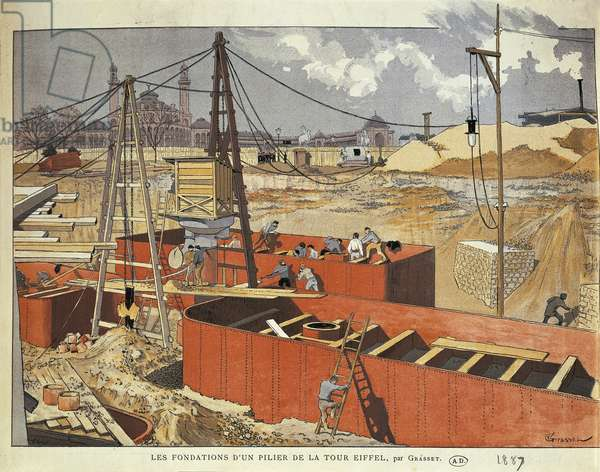 France, Paris, Laying foundations for one of columns of Eiffel Tower by Eugene Grasset, engraving, 1887