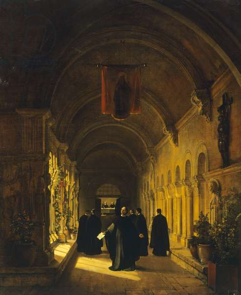 Abelard in cloister, 1820-1830, by Francois-Marius Granet (1775-1849), France, 19th century