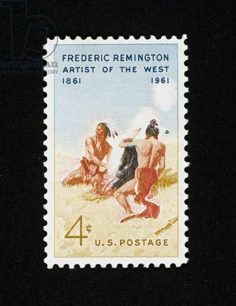 Postage stamp commemorating Centenary of birth of painter Frederic Remington (1861-1909), 1961, painting depicting Smoke Signal, USA, 20th century