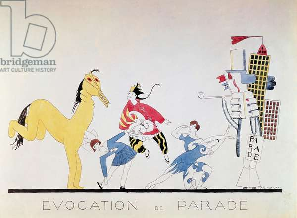 Evocation of Parade, by Andre Edouard Marty (1882-1974), watercolour inspired by the ballet Parade by Erik Satie (1866-1925)
