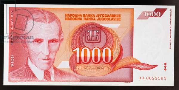 1000 dinar banknote, 1992, obverse, Nikola Tesla (1856-1943), Yugoslavia, 20th century