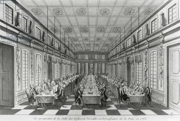 Banqueting hall of Versailles Palace on occasion of celebrations for signing of Treaty of Paris of 1763, end of Seven Years War, engraving, France, 19th century
