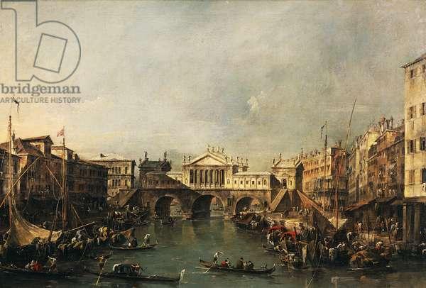 The Rialto Bridge according to a project by Palladio, by Francesco Guardi (1712-1793), oil on canvas.