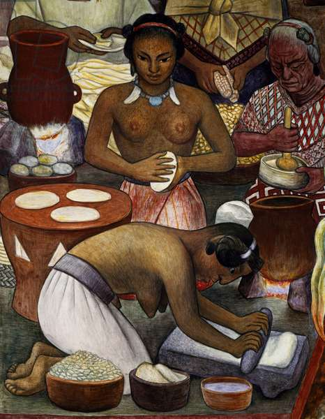 Cultivation of maize, by Diego Rivera (1886-1957), detail from the National Palace frescoes, Mexico City. Mexico, 20th century.