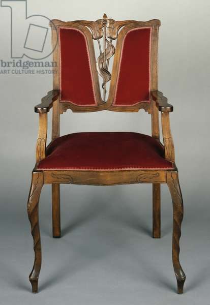 Art Nouveau style armchair, carved walnut, Italy, 20th century