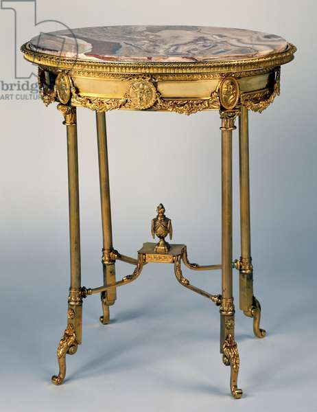 Louis XV style bronze oval gueridon with Algerian onyx marble top, 2nd half of 19th century, France