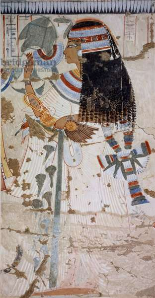Ouserhat's mother, copy of fresco from Tomb of Ouserhat, Thebes, dating back to reign of Seti I, plate from Ancient Egyptian Paintings, by Nina Davies, 1936, Chicago, 20th century