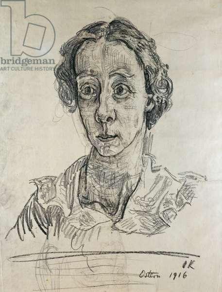 Portrait of a woman, by Oscar Kokoschka (1886-1980), black pencil drawing. Austria, 20th century.