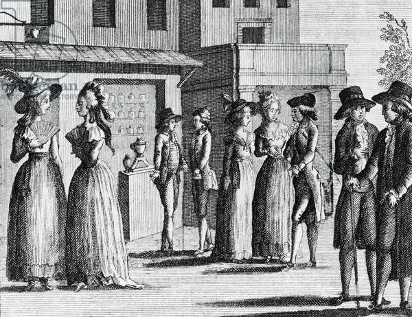 Illustration for The fan, comedy by Carlo Goldoni (1707-1793), engraving, from Opere teatrali del sig avvocato Carlo Goldoni veneziano, published by Antonio Zatta e figli, 1789, Venice