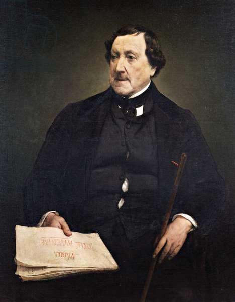 Portrait of Gioachino Rossini (Pesaro, 1792-Paris, 1868), Italian composer, Painting by Francesco Hayez (1791-1882), 1870, oil on canvas, 109x87 cm