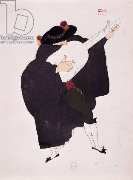 Costume for character of guitarist from The Barber of Seville by Gioacchino Rossini, sketch by Charles Martin (1884-1934), 1933, Paris Opera theatre, 20th century